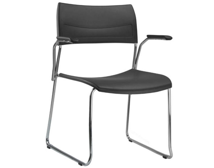 Cadeira Fixa NIN027 - Base Fixa Cromada - Linha Nina - Com Braço - Frisokar