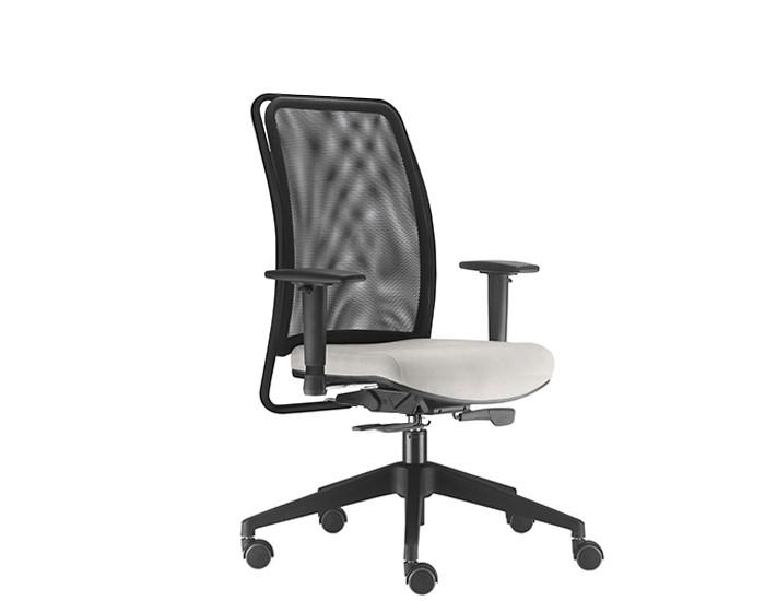Cadeira para Escritório Presidente Giratória SOU581 - Mecanismo Syncron - Base Piramidal de Nylon - Encosto em tela -  Com Braço - Linha SOUL - Frisokar