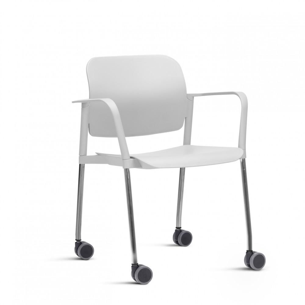 Cadeira em Plástico KLEAF17 -  Com Rodízio - Linha Leaf - Com Braço -  Base Cromada - Frisokar