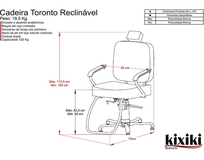 Cadeira Toronto - Encosto Fixo - Sem Cabeçote - Kixiki Móveis -