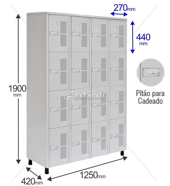 Roupeiro Para Vestiário RGRSP 16 Portas - Com Pitão para CADEADO - RCH