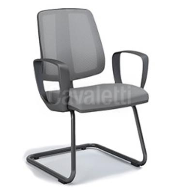 Cadeira para escritório fixa aproximação 43106 S - Braço LOOP - ESTRUTURA CROMADA - Linha FLIP - Cavaletti