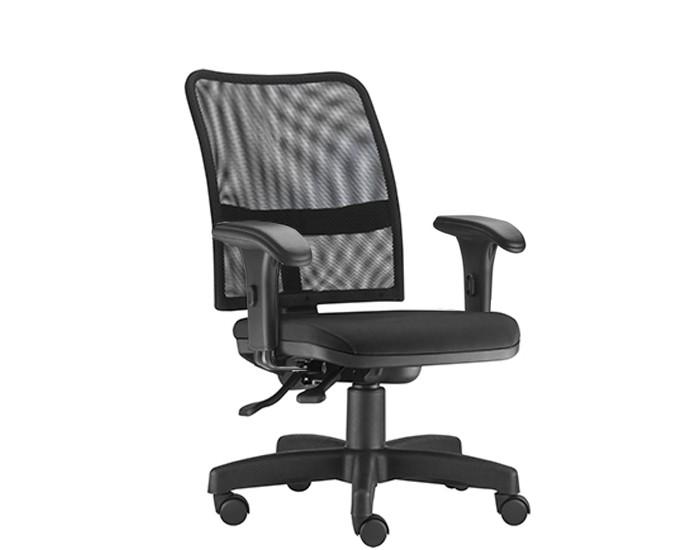 Cadeira Para Escritório Diretor Giratória SOU577 - Mecanismo Evolution - Encosto em Tela - Base Metálica com Capa - Linha SOUL- Com Braço PP - Frisokar