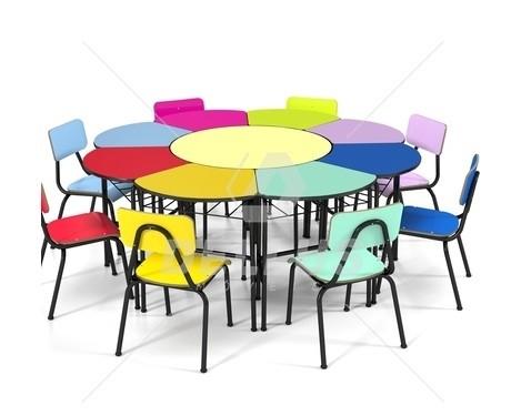 Conjunto de mesas e cadeiras MARGARIDA, OITAVADO INFANTIL - Colorido -  (1 à 5 anos)