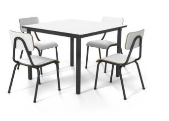 Conjunto de mesa juvenil (6 à 10 anos) - 1 mesa + 4 cadeiras - Branco ou Bege - Dellus -
