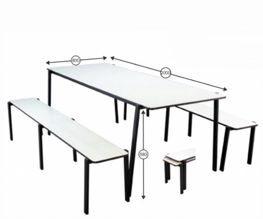 Mesa para refeitório com bancos empilháveis infantil - 2000 x 800 x 580 mm - Dellus -