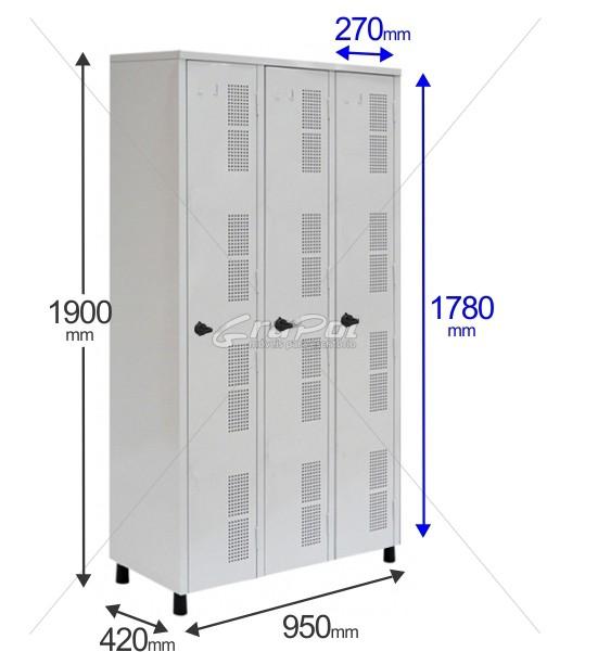 Roupeiro Para Vestiário RGRIP-3 3 Portas - Com Fecho Porta-Cadeado - RCH