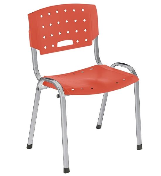 Cadeira Empilhável Plástica - Estrutura Cromada - Assento e Encosto Colorido