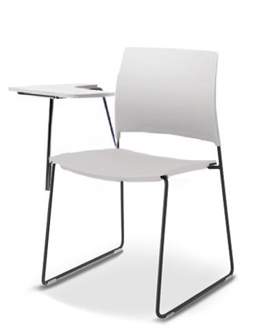 Cadeira para escritório fixa Universitária com Prancheta Removível 34006 A - Estrutura Preta - Linha Go - Cavaletti
