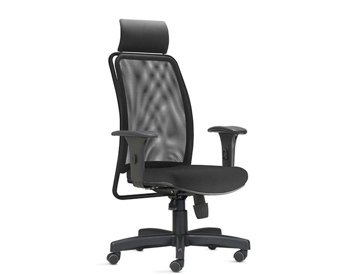 Cadeira para Escritório Presidente Giratória SOU580 - Mecanismo Syncron - Base Metálica com Capa - Encosto em tela -  Com Braço - Rodízio Nylon - Linha SOUL - Frisokar