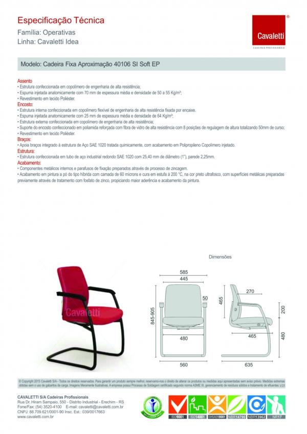 Cadeira fixa estrutura (SI) e braços pretos integrados 40106 SI - Linha Idea - Cavaletti -