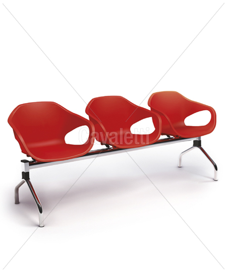 Conjunto Cadeira Auditório longarina 33110 3L - ESTRUTURA CROMADA -  Linha Stay - Cavaletti