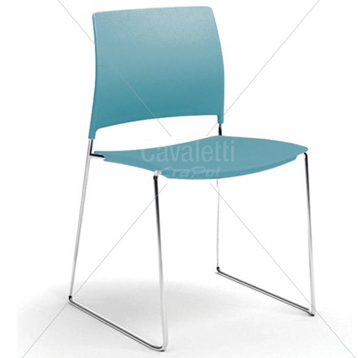 Cadeira para escritório fixa aproximação 34006 A - Estrutura Cromada - Linha Go - Cavaletti