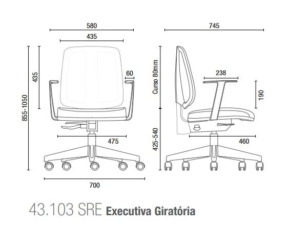 Cadeira para escritório executiva giratória 43103 SRE - Linha Flip - Braço TC - Cavaletti - Aranha NYLON -
