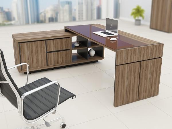 Conjunto de mesa em l para escrit rio tampo com detalhe em - Mesa escritorio l ...