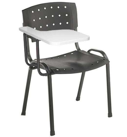 Cadeira Universitária Plástica - Com Prancheta - Estrutura Preta - Assento e Encosto Preto