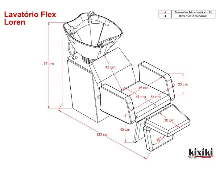 Lavatório Flex Loren - Pia de Cerâmica - Sem aquecedor - Kixiki Móveis -
