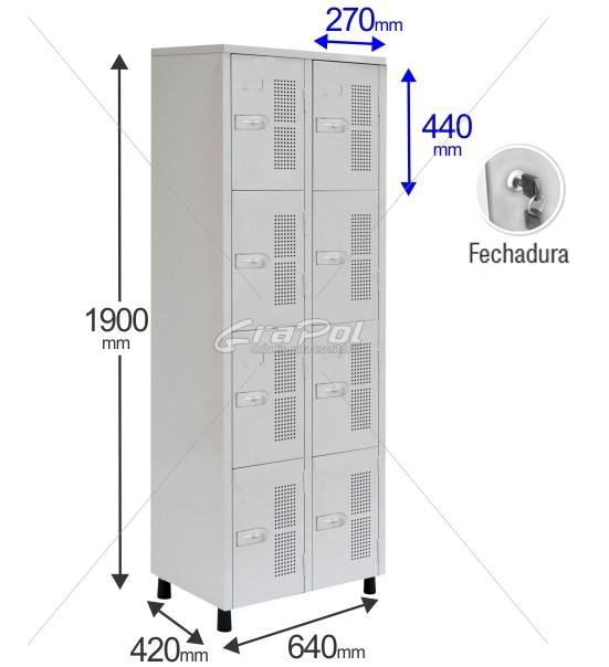Roupeiro Para Vestiário RGRSP 4/8 8 Portas - Com FECHADURA - RCH