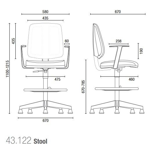 Cadeira Giratória Stool 43122 SRE, Aranha Nylon, c/ Sapata, Encosto em Tela, Braço SL,  -