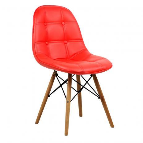 Cadeira Fixa Charles Eames DKR Polipropileno -  Estrutura de madeira e concha Estofada