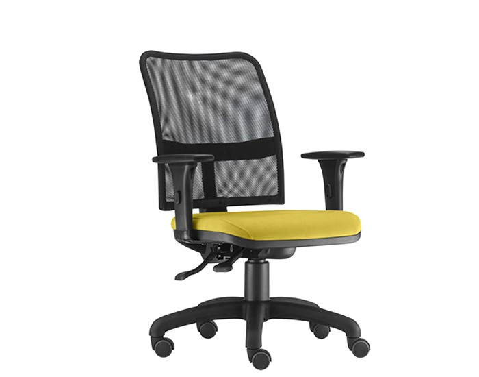 Cadeira Para Escritório Diretor Giratória SOU578 - Mecanismo Evolution - Encosto em Tela - Base Metálica com Capa - Linha SOUL- Com Braço PP - Frisokar