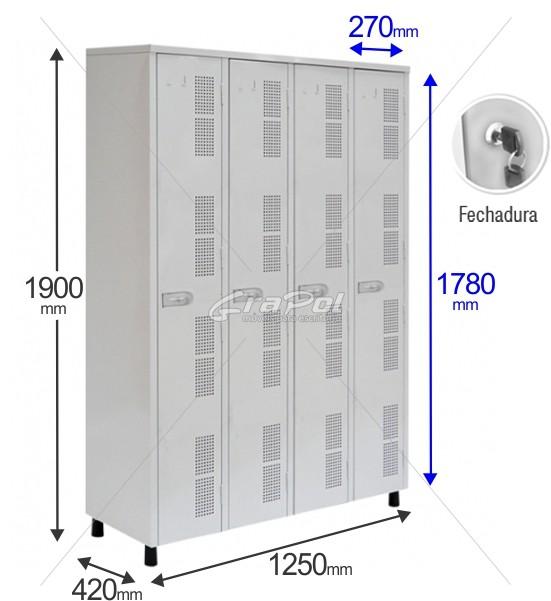 Roupeiro Para Vestiário RGRIP-4 4 Portas - Com FECHADURA - RCH