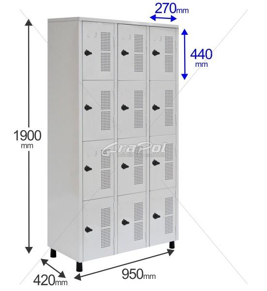 Roupeiro Para Vestiário RGRSP 12 Portas - Com Fecho Porta-Cadeado - RCH