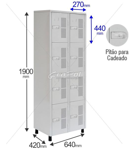 Roupeiro Para Vestiário RGRSP 4/8 8 Portas - Com Pitão para CADEADO - RCH