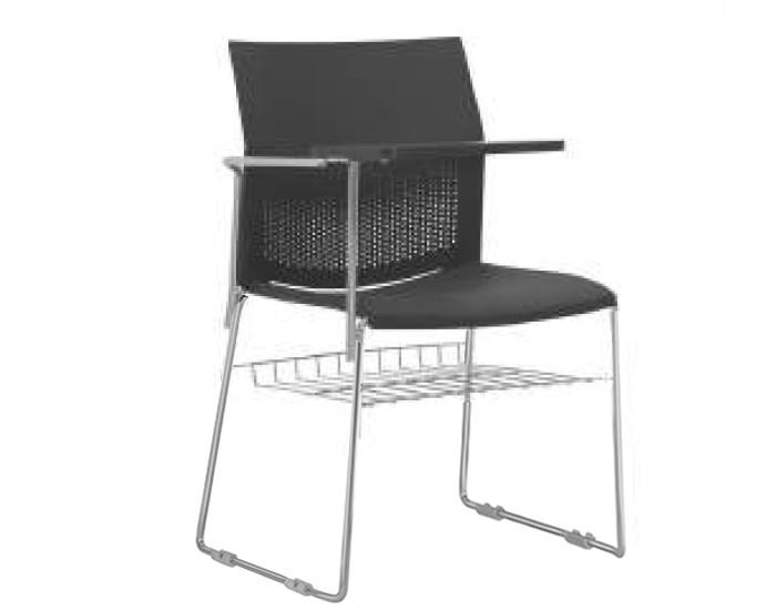 Cadeira Fixa CON075 - Base Fixa Cromada - Linha Connect Universitária - Com Gradil - Com Prancheta Escamoteável - Frisokar