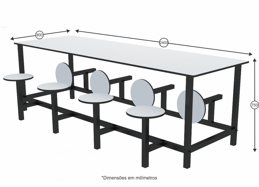 Mesa para refeitório com banco escamoteável 8 lug. MDF 15mm - Dellus -