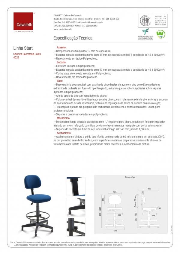 Cadeira giratória caixa 4022 - Linha Start - Cavaletti -