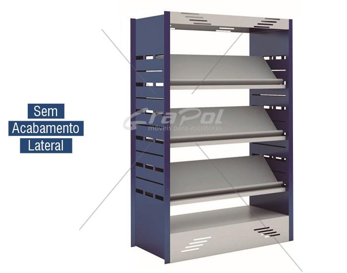 Estante Expositora para Biblioteca -W-teca -  c/ 3 Prateleira + Base 1500X1000X440mm