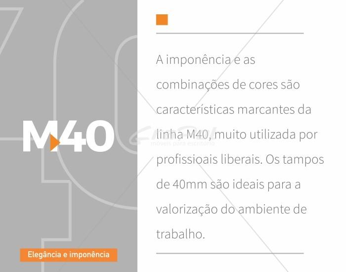 Armário Baixo Credenza - 2 Portas - 1196mm x 420mm x 750mm - MDP 40mm  -