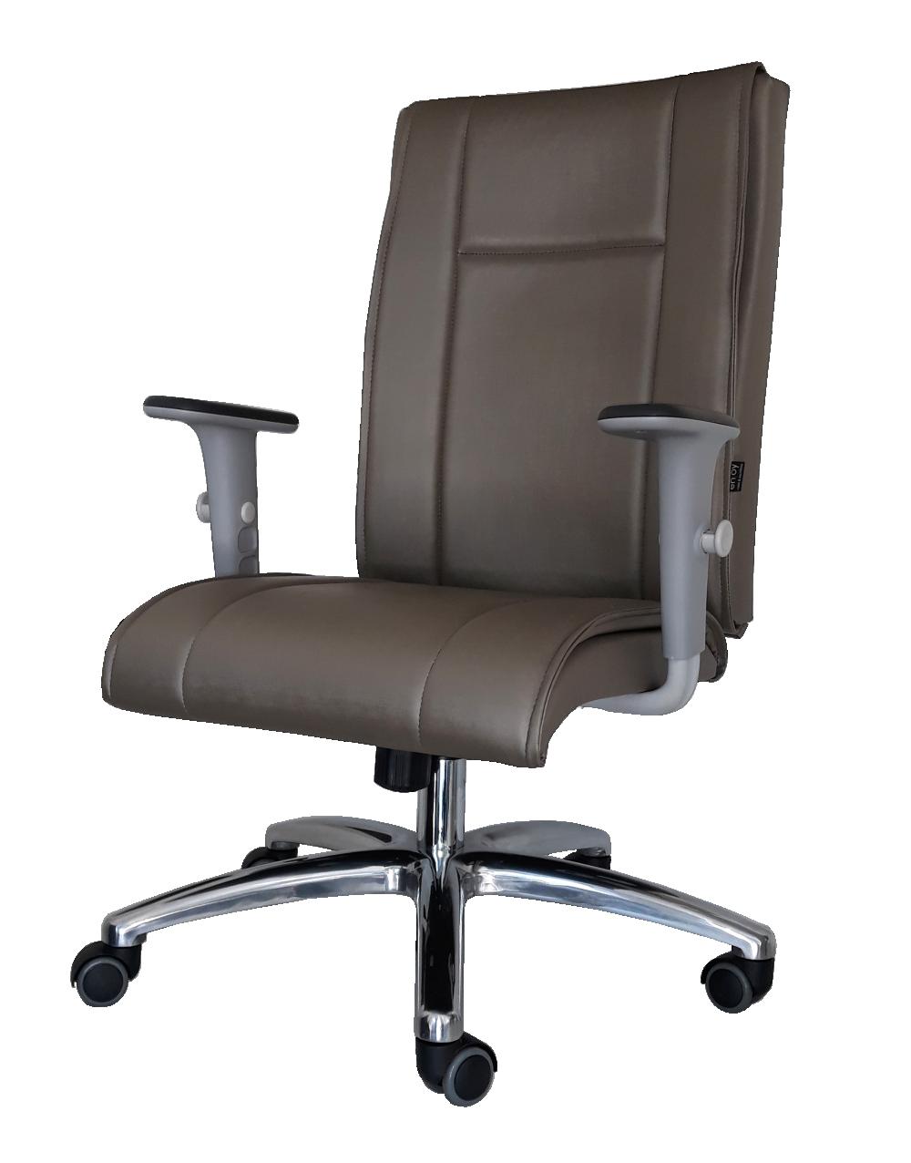 Cadeira para Escritório Presidente FLY Relax c/ trava, aranha Alumínio, braços 2D reguláveis, rodízios PU.