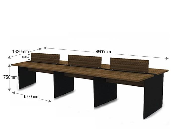 Plataforma de Trabalho com Total de 6 Lugares. 3 Lugares + 3 Lugares Frente a Frente - 4500mm X 1320mm X 750mm - 25mm