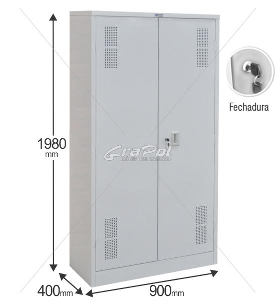 Armário de Aço RAA402/40 - 2 Portas - 1980x900x400mm - 04 Prateleiras Reguláveis