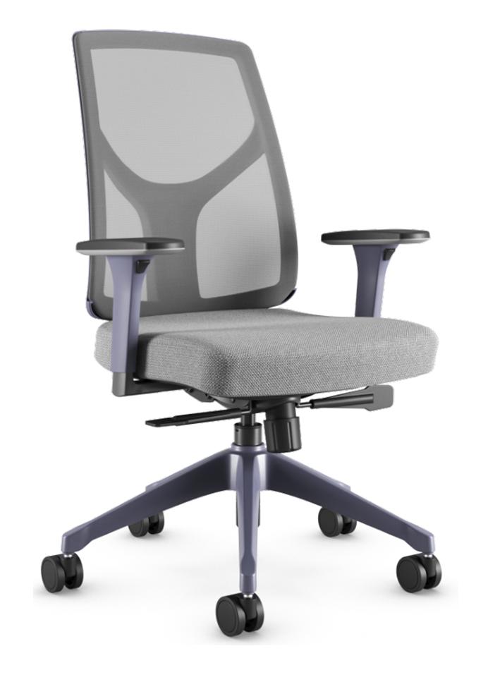 Cadeira Giratória Executiva YON,  47101 SRY, Encosto em  TELA NEWNET c/ Regulagem de Altura, Aranha UP AZUL PROFUNDO, Rod. 65 Nylon, Braço MC Azul Profundo