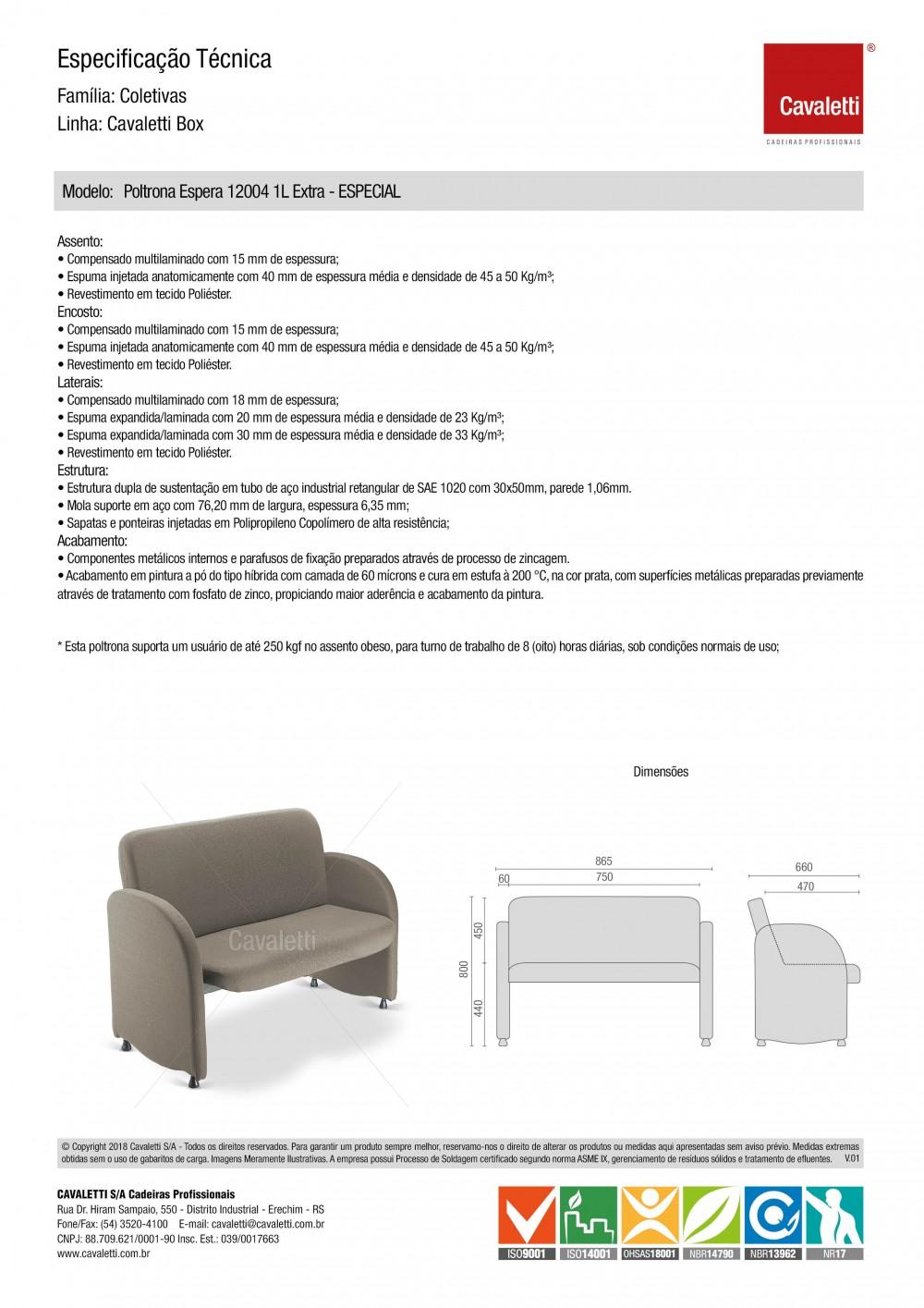 Poltrona Espera 12004 Extra - 1 Lugar -  Linha Box - Capacidade 250kg - Cavaletti -