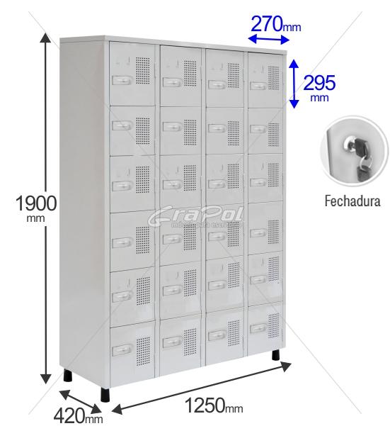 Roupeiro Para Vestiário RGRSP 24 Portas - Com FECHADURA - RCH