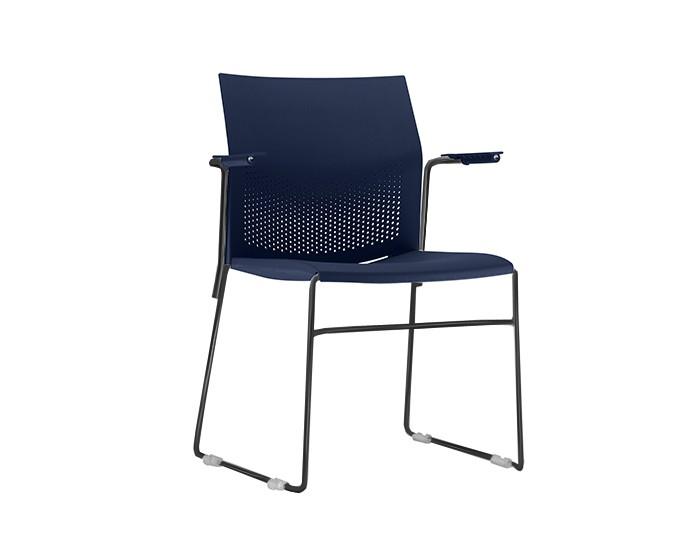 Cadeira Fixa CON005 - Base Fixa Preta - Linha Connect Coletiva - Com Braço - Frisokar