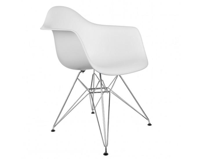 Cadeira Eiffel com Braço Eames - Polipropileno com braços -  Estrutura em aço cromado e concha Colorida