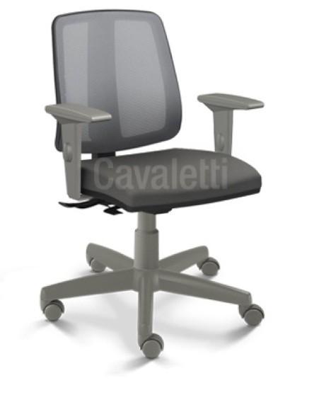 Cadeira para escritório executiva giratória 43103 SRE - Linha Flip - Braço SL - Cavaletti - Aranha Polaina Cinza