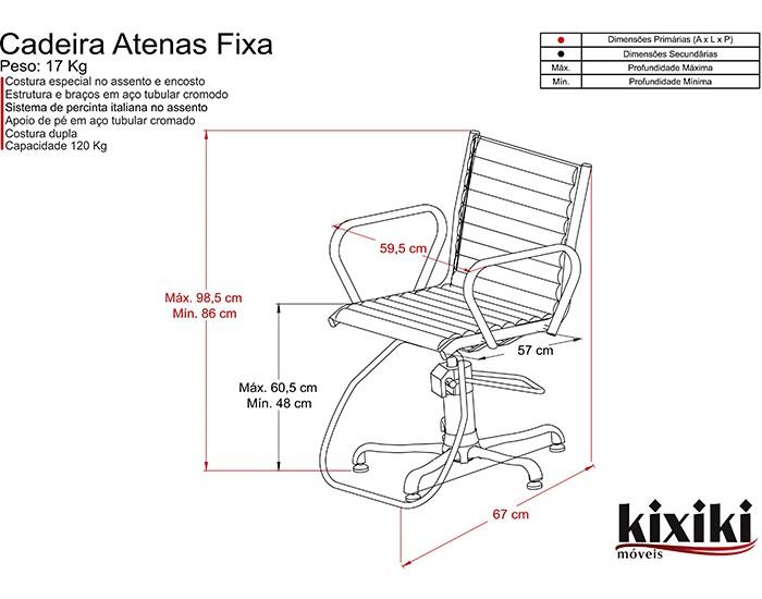 Cadeira Atenas - Encosto Fixo - Sem Cabeçote -  Kixiki Móveis -