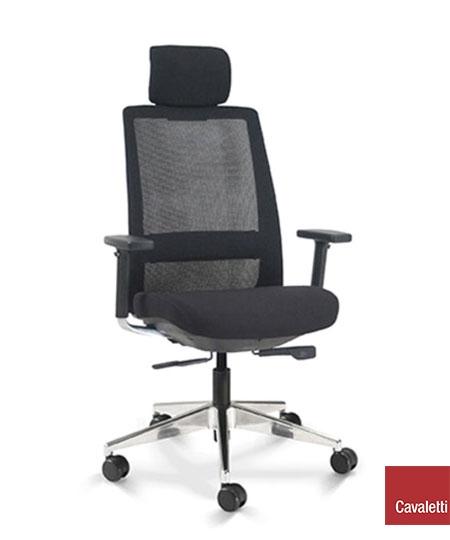 Cadeira para escritório giratória presidente 29001 AC - Linha C4 - BRAÇO 3D - Cavaletti - Base Alumínio
