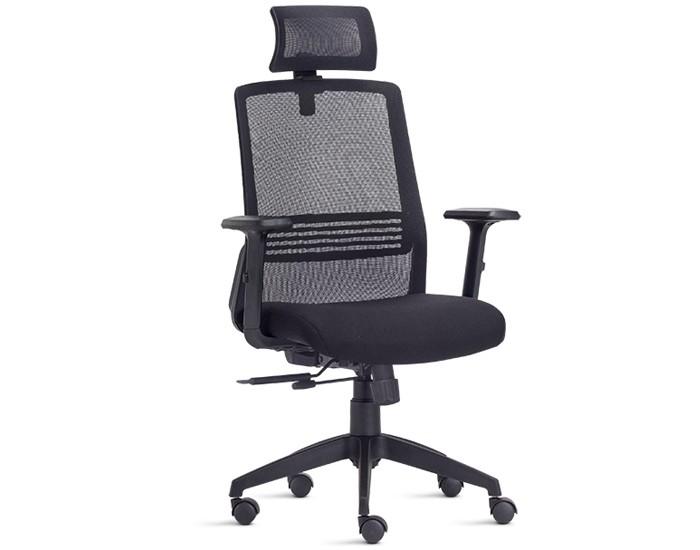 Cadeira Para Escritório Presidente Giratória IJOY05 - Mecanismo Slider - Encosto em Tela - Base Nylon - Com Apoio Lombar - Com Apoio de Cabeça - Linha Joy - Frisokar