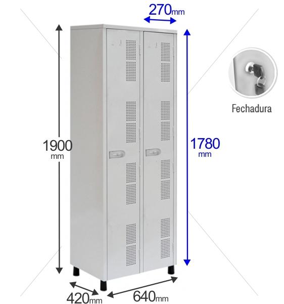 Roupeiro Para Vestiário RGRIP-2 2 Portas - Com FECHADURA - RCH