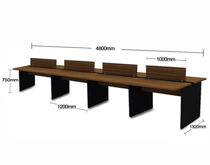 Plataforma de Trabalho com Total de 8 Lugares. 4 Lugares + 4 Lugares Frente a Frente - 4800mm X 1320mm X 750mm - Tampo em MDP 40mm