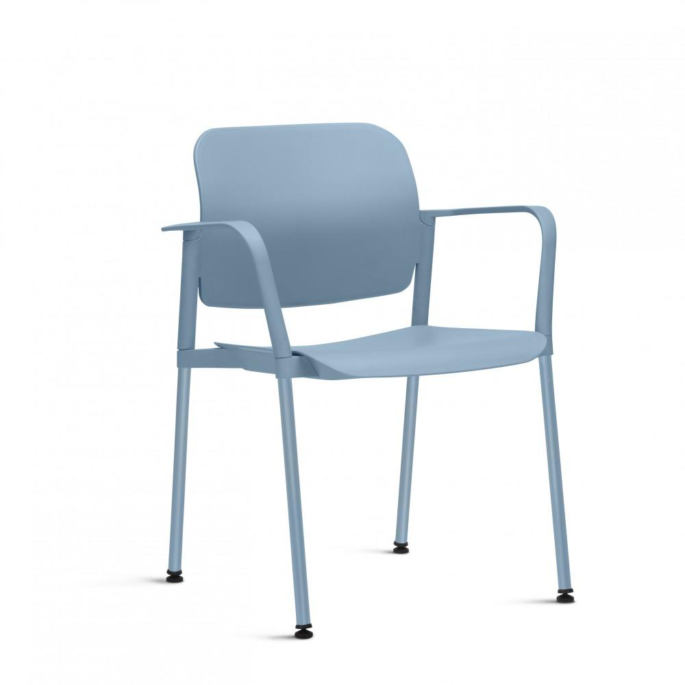 Cadeira Fixa em Plástico KLEAF02 -  Pé Palito - Linha Leaf - Com Braço - Frisokar
