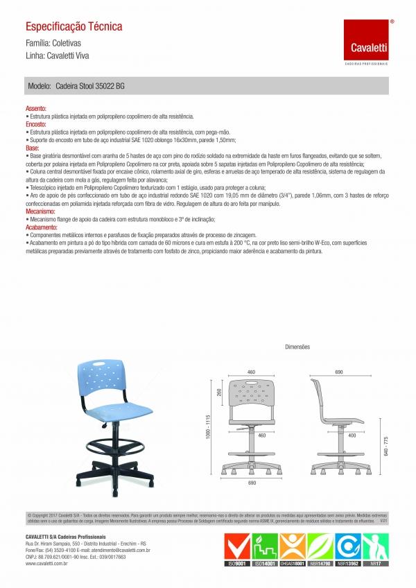 Cadeira para escritório giratória caixa plástica 35022 BG - Linha Viva - Cavaletti - Base Polaina com Sapata -