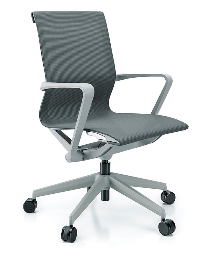 Cadeira para escritório giratória Diretor 44102 Auto Regulável - Linha Aura - Braço - Estrutura Cinza - Cavaletti - Base Nylon Cinza